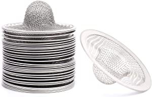 Skywin 50 Pack Stainless Steel Sink Strainer - Kitchen Sink Strainer Basket for Kitchen, Bathroom, and Floor Drain - Stainless Steel Strainer Catches Tiny Food and Waste Particles to Prevent Clogging