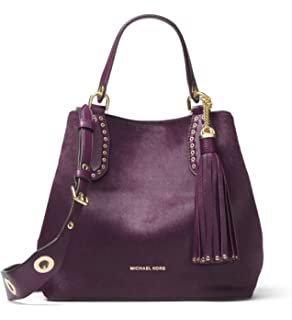 12537caa295d Amazon.com  Michael Kors Brooklyn Small Leather Grab Bag Satchel in ...