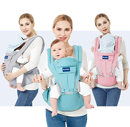 BabyPro 360 Baby Carrier with Hip Seat, 9 Ergonomic Safe Positions for Newborns Infants Toddlers, Truly Hands Free Front and Back Carrier Perfect for Traveling, Hiking and Easy Breastfeeding