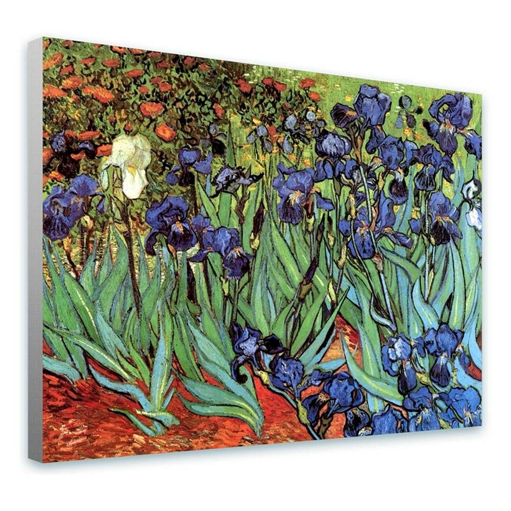 Alonline Art - Irises by Vincent Van Gogh | framed stretched canvas on a ready to hang frame - 100% cotton - gallery wrapped | 32''x24'' - 81x61cm | Wall art home decor for home or for living room | by Alonline Art