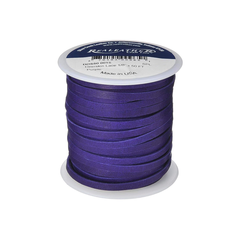 0.125-Inch Wide 50-feet Spool Realeather Crafts Deerskin Lace Black