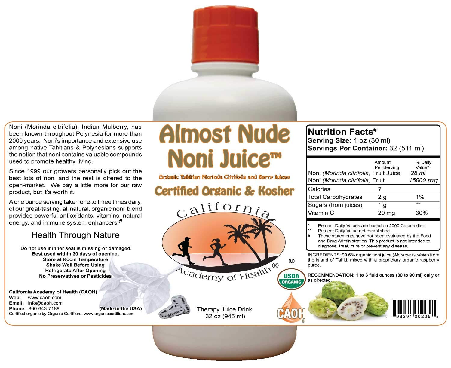 Almost Nude Noni Juice - Organic Noni Juice Blend from CAOH® (6-32 oz Bottles)