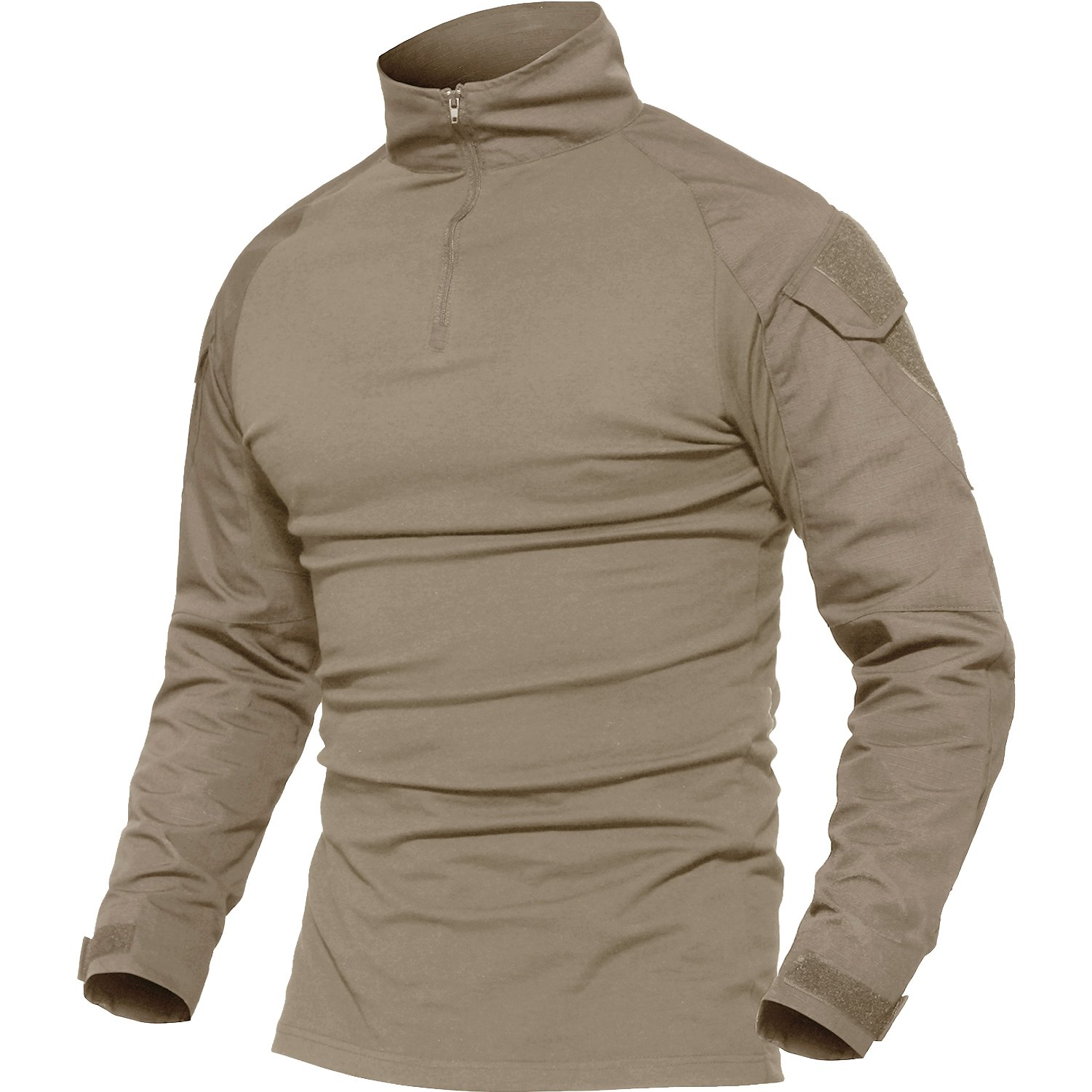 MAGCOMSEN Casual Shirts for Men Long Sleeve Summer Polo Collar Jogging T-Shirt 100 Cotton Tee Top Khaki by MAGCOMSEN