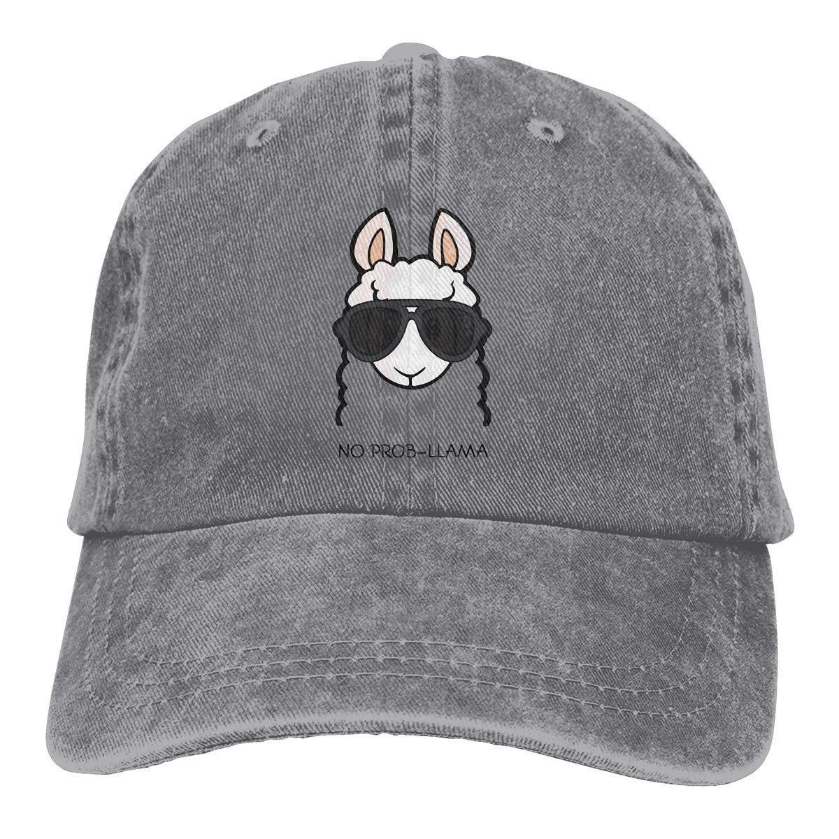 Adult Unisex Cowboy Cap Adjustable Hat No Prob Llama Cotton Denim