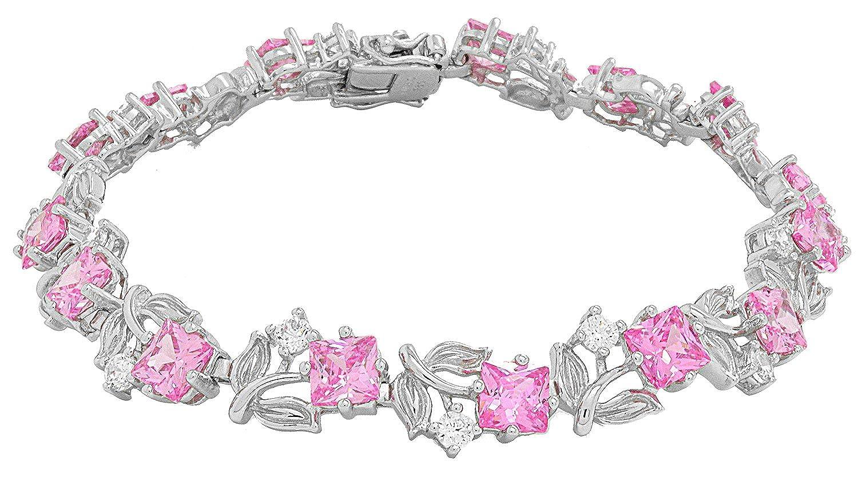 "Sterling Silver Rhodium Plated Pink Cubic Zirconia Flower Tennis Bracelet, 7.5"""