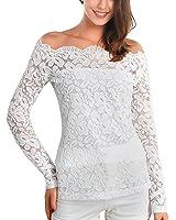 DJT Mujeres 2 en 1 Camisa de Encaje Floral Crochet Top Shoulder Off Lace Shirt