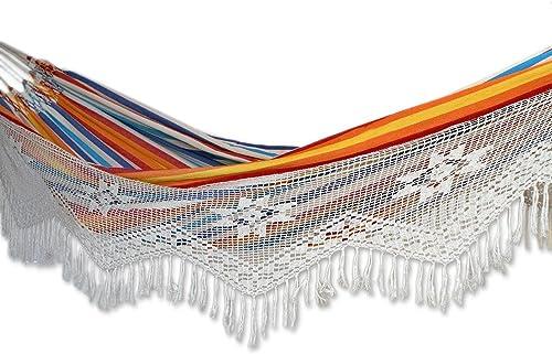 NOVICA Multi-Color Striped Cotton 2 Person Hand Woven Hammock