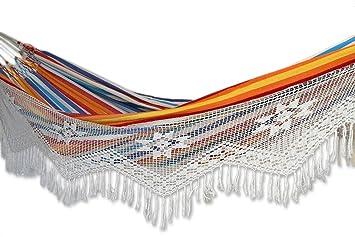 novica multi color striped cotton 2 person hand woven hammock with crochet fringe  u0027 amazon     novica multi color striped cotton 2 person hand woven      rh   amazon