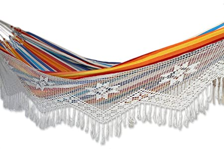 NOVICA Multi-Color Striped Cotton 2 Person Hand Woven Hammock with Crochet Fringe, Festive Brazil Double