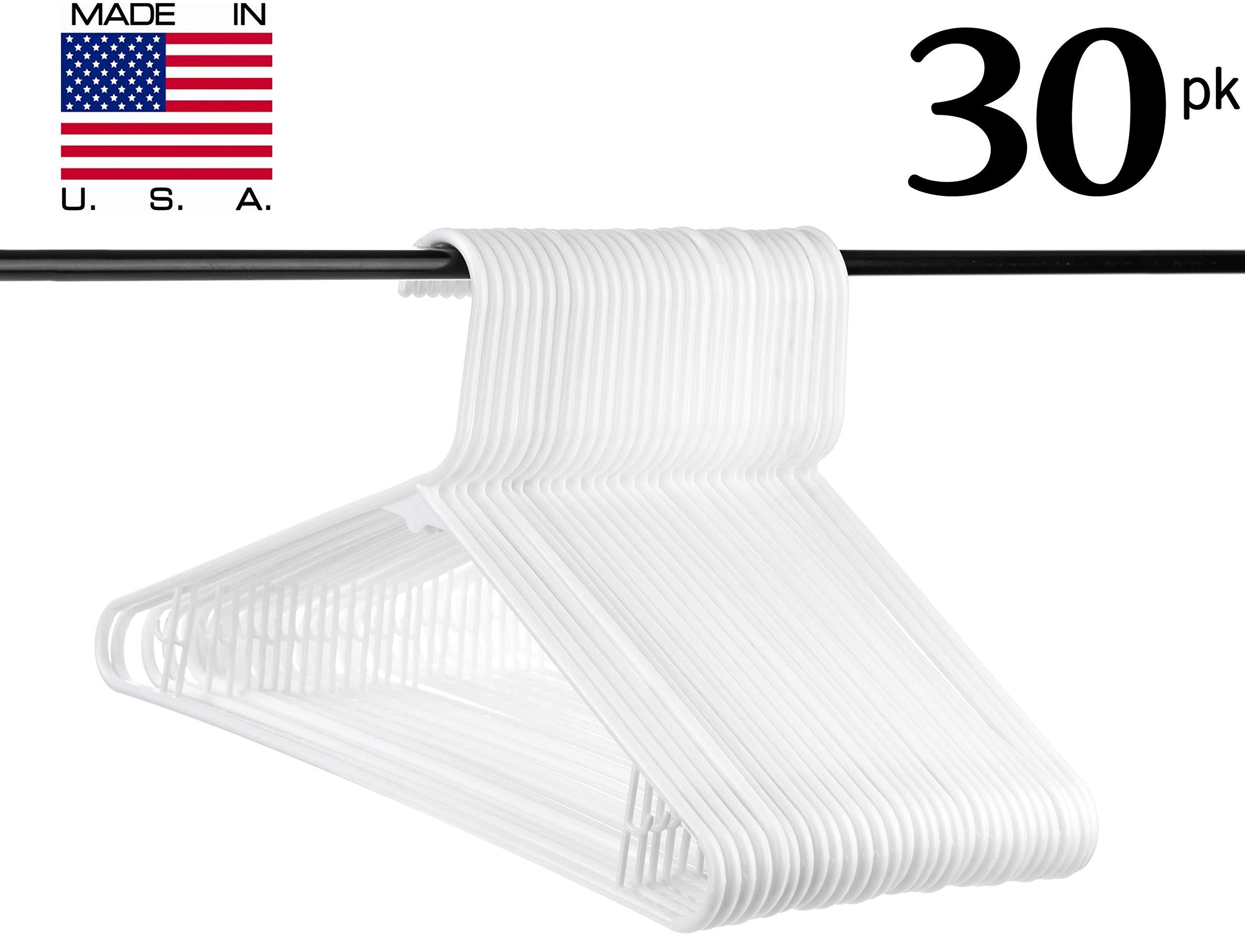 Neaties USA Made White Plastic Hangers with Bar Hooks, 30pk