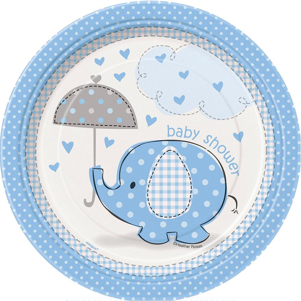 Amazon Blue Elephant Baby Shower 7 Cakedessert Plates 8