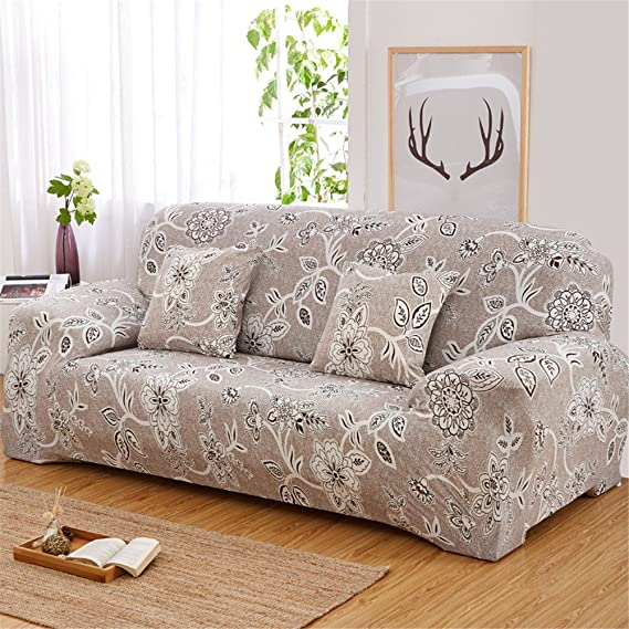 Zyurong - Funda elástica antideslizante de licra para sofá con estampado de flores, protector para mobiliario, poliéster, colorido, 3 seater