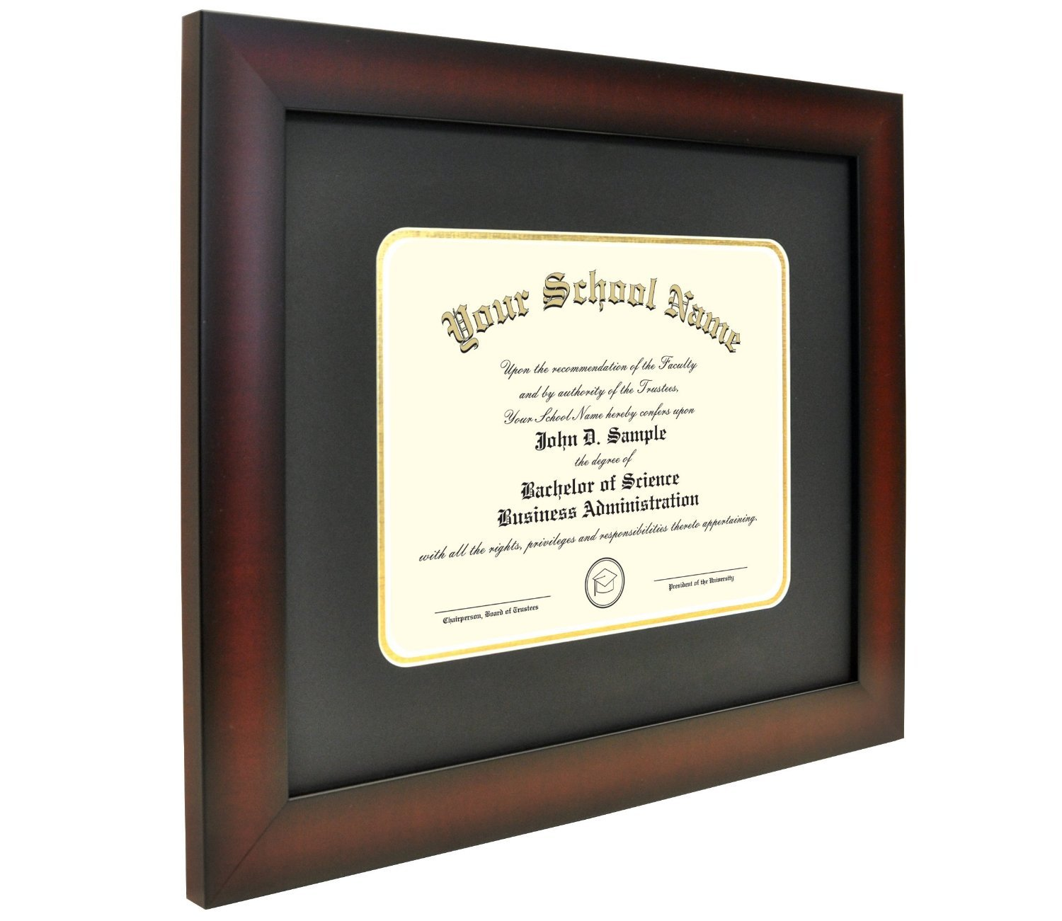 Celebration Frames Mahogany Finish Infinity Diploma Frame (fits 8.5 x 11 Document) with Black and Gold Mats