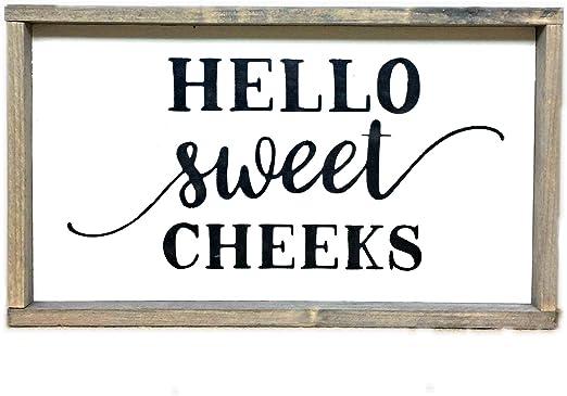 Amazon Com Hello Sweet Cheeks Funny Bathroom Sign Rustic Bathroom Decor Funny Wood Sign Home Kitchen