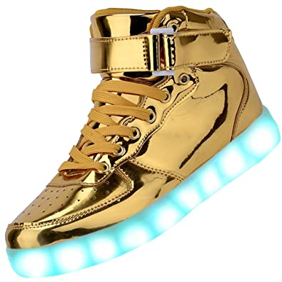 10d8fc38ed091 Padgene Unisex Men s Women s LED Lights Up Trainers High Top USB Flashing  Trainers Recharger LED Lights  7 Colors  Sneakers Couples Shoes   Amazon.co.uk  ...