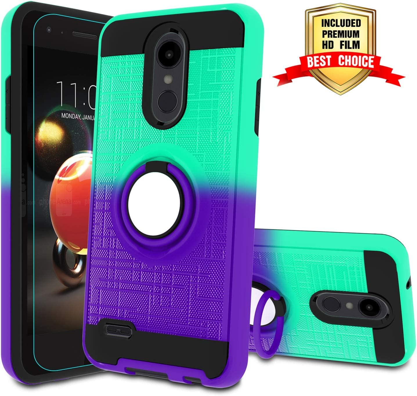 LG Tribute Empire Case,LG Aristo 3/Aristo 2/Rebel 4 LTE/Aristo 2 Plus/Phoenix 4/Tribute Dynasty/Zone 4 Phone Cases with HD Screen Protector, Atump Magnetic Car Mount Ring Case for K8 2018 Mint/Purple