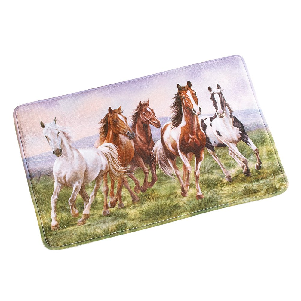 Collections Etc Western Galloping Horse Cushioned Bath Mat with Skid Resistant Backing