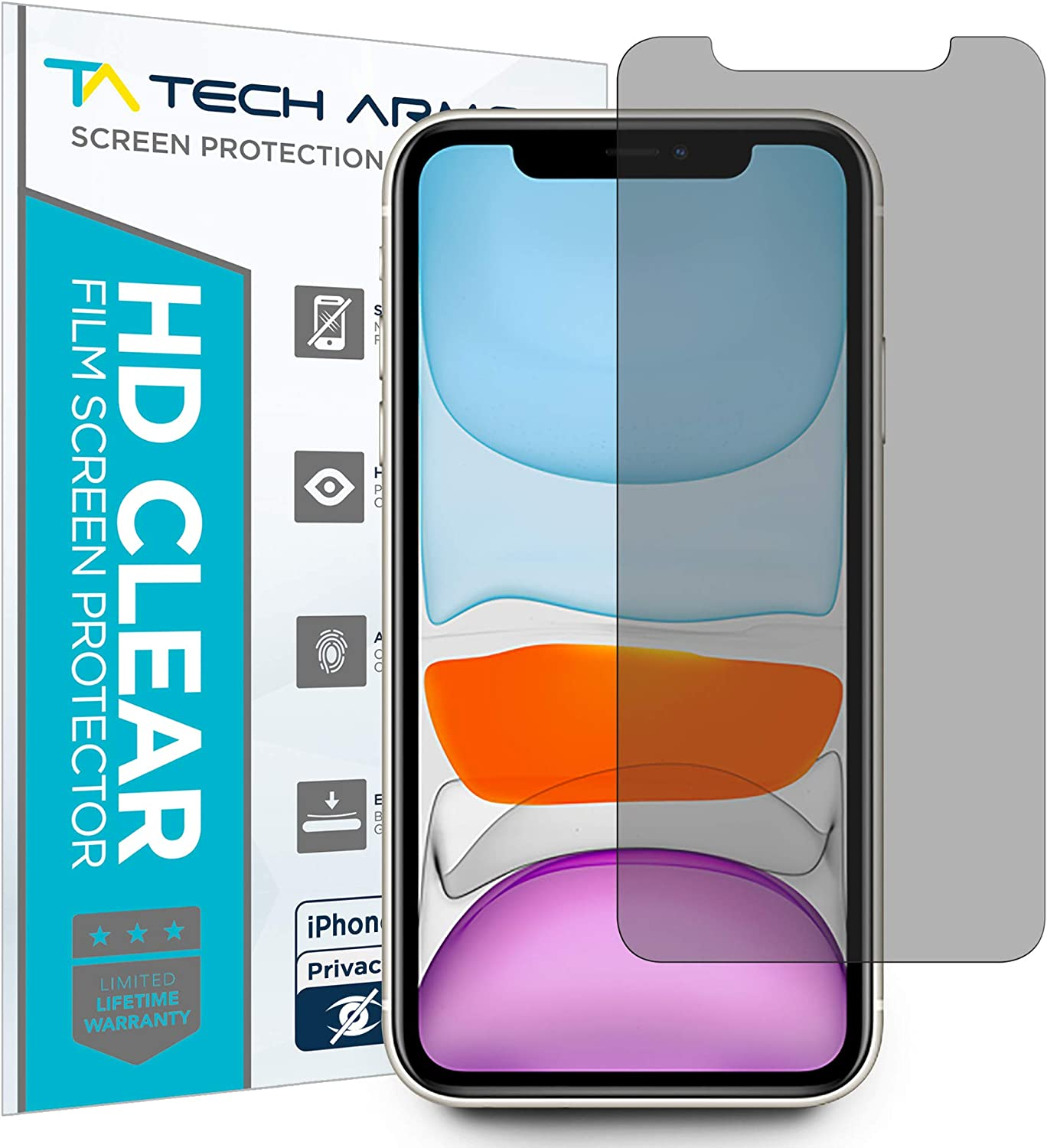 Tech Armor 4Way 360 Degree Privacy Film Screen Protector for New Apple iPhone 11 / iPhone Xr [1-Pack] Case-Friendly, Scratch Resistant, 3D Touch Accurate Designed for 2019 Apple iPhone 11