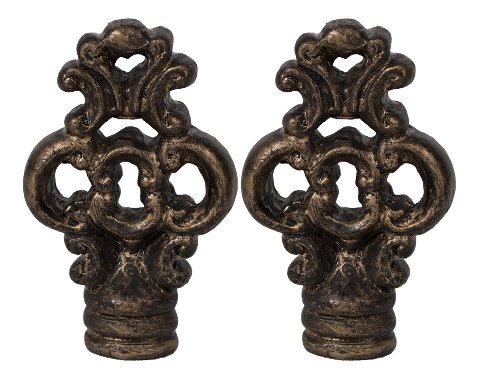Urbanest Set of 2 Key Lamp Finials, 2 3/8-inch Tall, Bronze with Gold Highlight