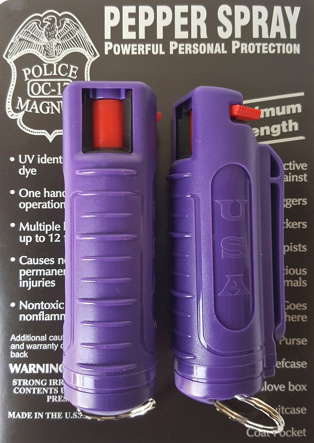 2 PACK POLICE MAGNUM MACE PEPPER SPRAY 1/2oz PURPLE INJECTION MOLDED KEYCHAIN by POLICE MAGNUM