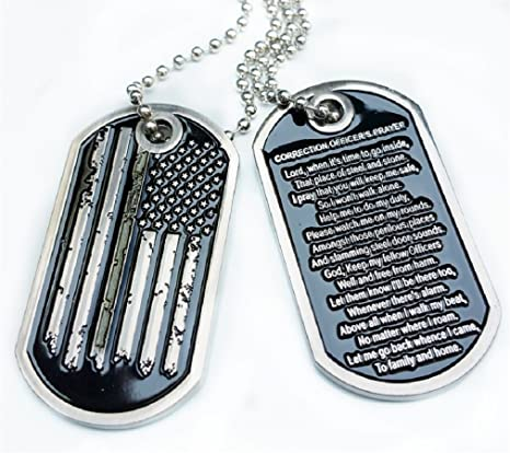 Rescuetees Thin Silver Line Distress American Flag Correction Officer  Prayer Dog Tag