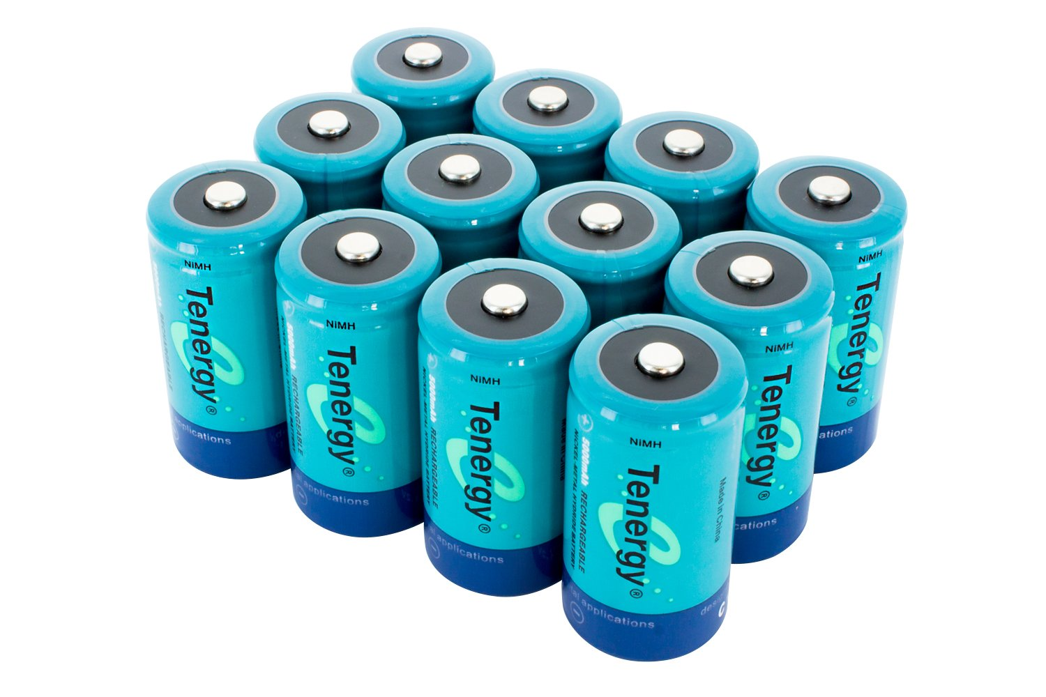 12 pcs of Tenergy C Size 5000mAh High Capacity High Rate NiMH Rechargeable Batteries by Tenergy
