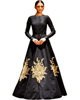 8b56d0d11e Siddeshwary Fab Women s Taffeta Silk Embroidered Gown for Women ( Navy blue  Red Black )