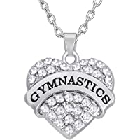 Lemegeton Heart Crystal Gymnastics Charm Chain Necklace Jewelry for Gymnast/Gymnastic Coaches&Teams (White)