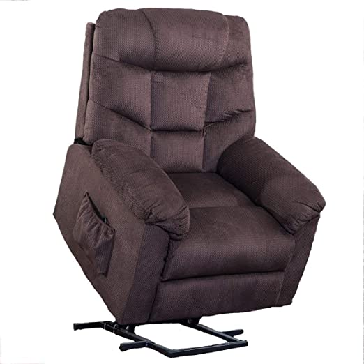 Power Lift Chair for Elderly Reclining Chair Sofa Electric Recliner Chairs with Remote Control Soft Fabric Lounge (Brown)
