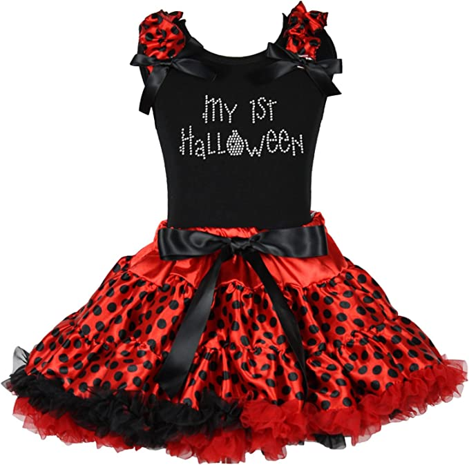 Mi primer Halloween negro camiseta rojo lunares falda niña ropa ...