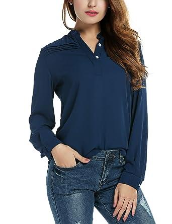 24c042a7d0794 Zeagoo Women s Notch V Neck Long Sleeve Solid Casual Shirt Tunic Blouse Top Navy  Blue M