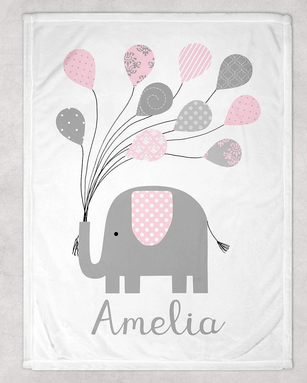 Elephant Blanket Safari Baby Shower Elephant Bedding Baby Name Blanket Custom Name Blanket Personalized Baby Blanket