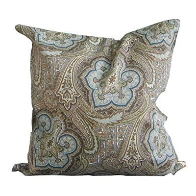 N/ A Outdoor Pillow 18 in Patio Pillow Outdoor Paisley Pillow Neutral Outdoor Pillow Outdoor Pillow Cover Brown Paisley Pillow 18x18 Pillow: Home & Kitchen