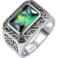 خواتم فضية للرجال من بونلافي 6.85 قيراط 8 × 12 ملم، خاتم خطوبة وزفاف بحجر اخضر زمردي مشع مصنوع من الفضة الاسترليني عيار…