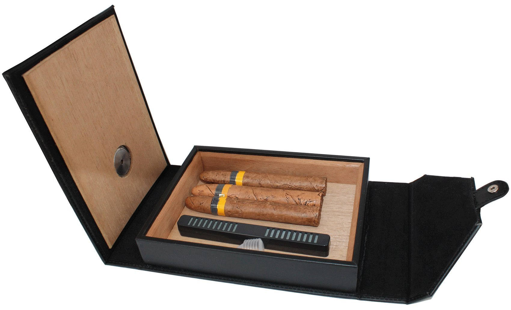 AMANCY Beautiful 5-10 Capacity Cedar Wood Lined Leather Portable Travel Cigar Humidor Case,Easily Carry Anywhere by AMANCY (Image #3)
