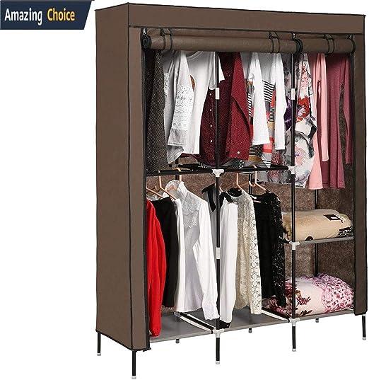 Amazon Com Utheing Portable Canvas Clothes Wardrobe Heavy Duty 2