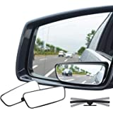 Ampper Rectangle Blind Spot Mirror, 360 Degree HD Glass and ABS Housing Convex Wide Angle Rearview Mirror for Universal Car F
