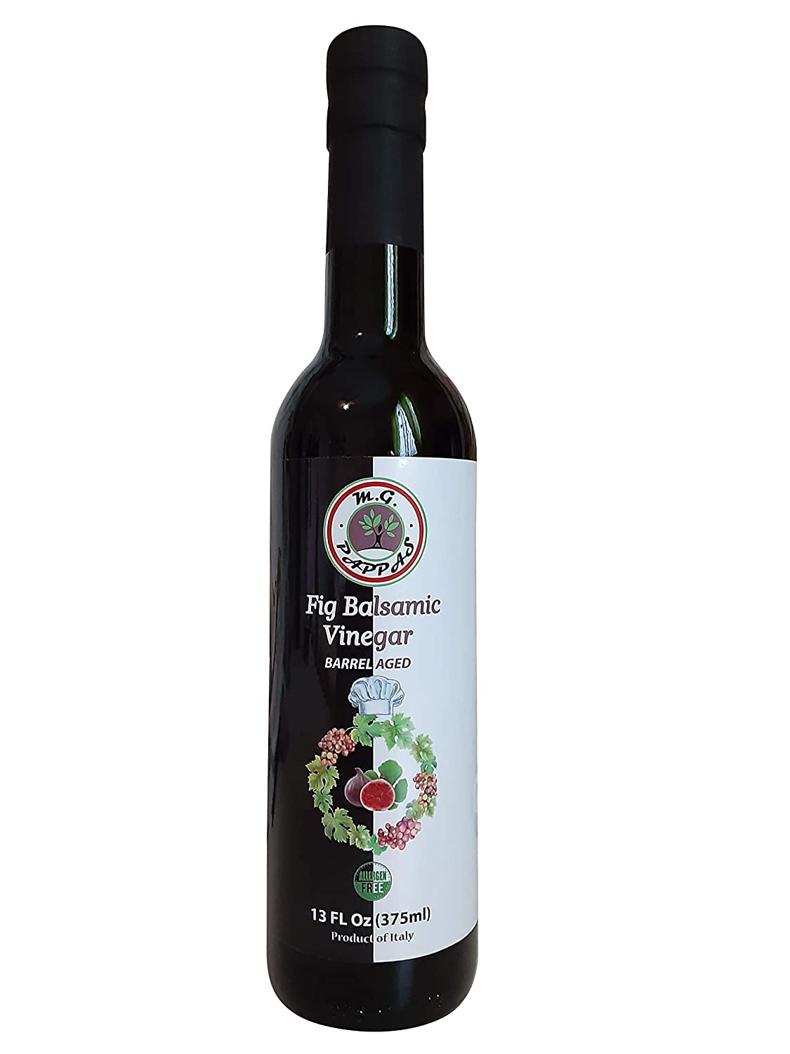 M.G. PAPPAS Fig Balsamic Vinegar of Modena Aged Flavored Thick Sweet Barrel Syrup Italian Allergens Free 13 Oz 375ml