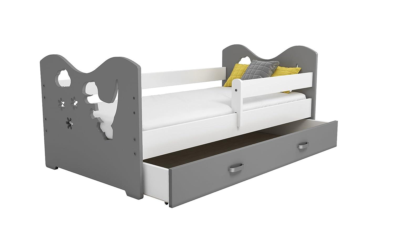 Bett Babybett Kinderbett Jugendbett 160x80 + Lattenrost + Schublade + Matratze Motivwahl B3 (DINO) LDM Möbel