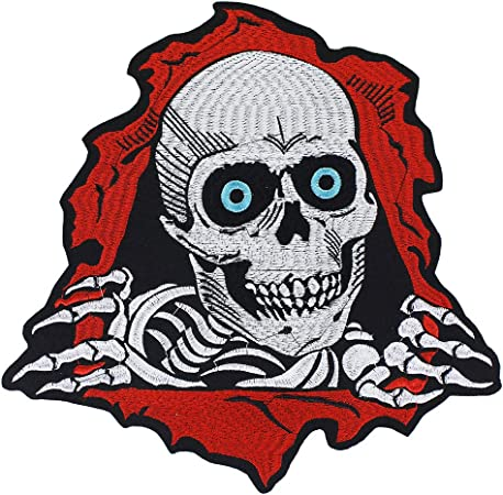 EMDOMO Skull Embroidery Patch Iron on Stickers Motorcycle Custom Punk  Patches Jacket Back Badges Applique Sewing Crafts 1piece: Amazon.co.uk:  Kitchen & Home