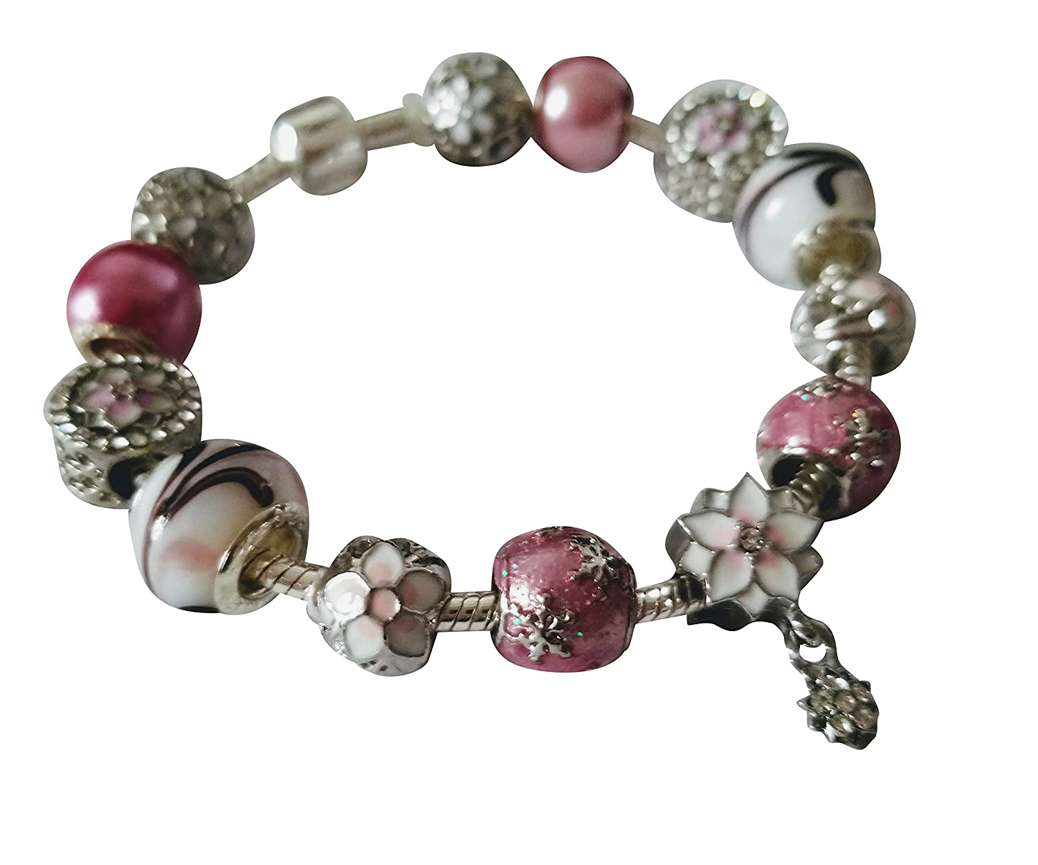 Cheris Creative Creations Pink with Silver Tone Charm Bracelet Womens