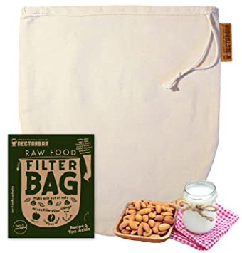 NECTARBAR Eco Bolsa DE Leche Vegetal - Algodón Natural Raw Food Filter Bag - Filtro para