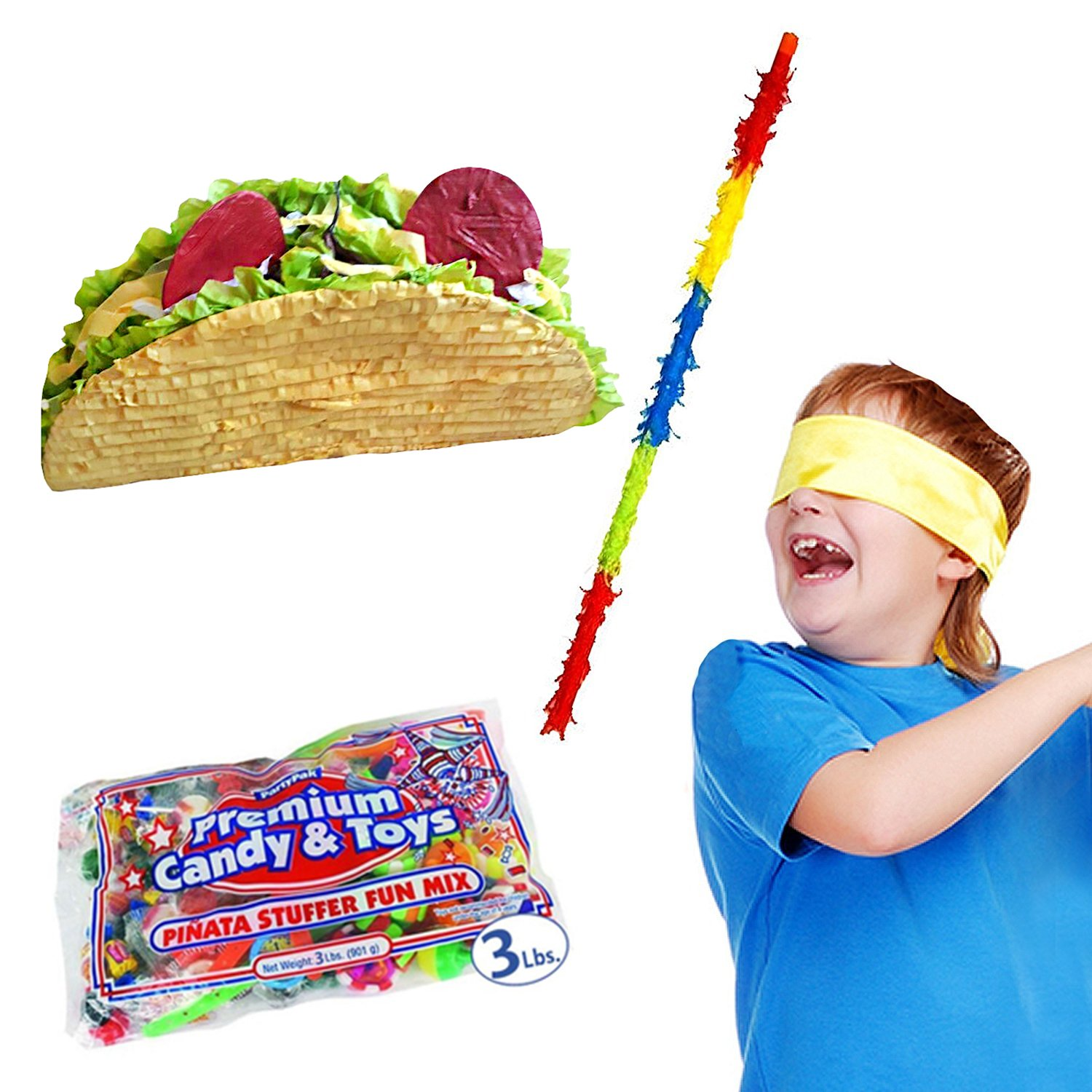 Large Mexican Taco Pinata Kit for Fiestas Including Pinata, 3 lb Candy Filler, Buster Stick and Bandana, 26'' L