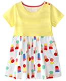 Amazon Price History for:Fiream Girls Dresses,Short Sleeve Summer Cotton Striped Cute Print Pattern Casual Dress For Toddler