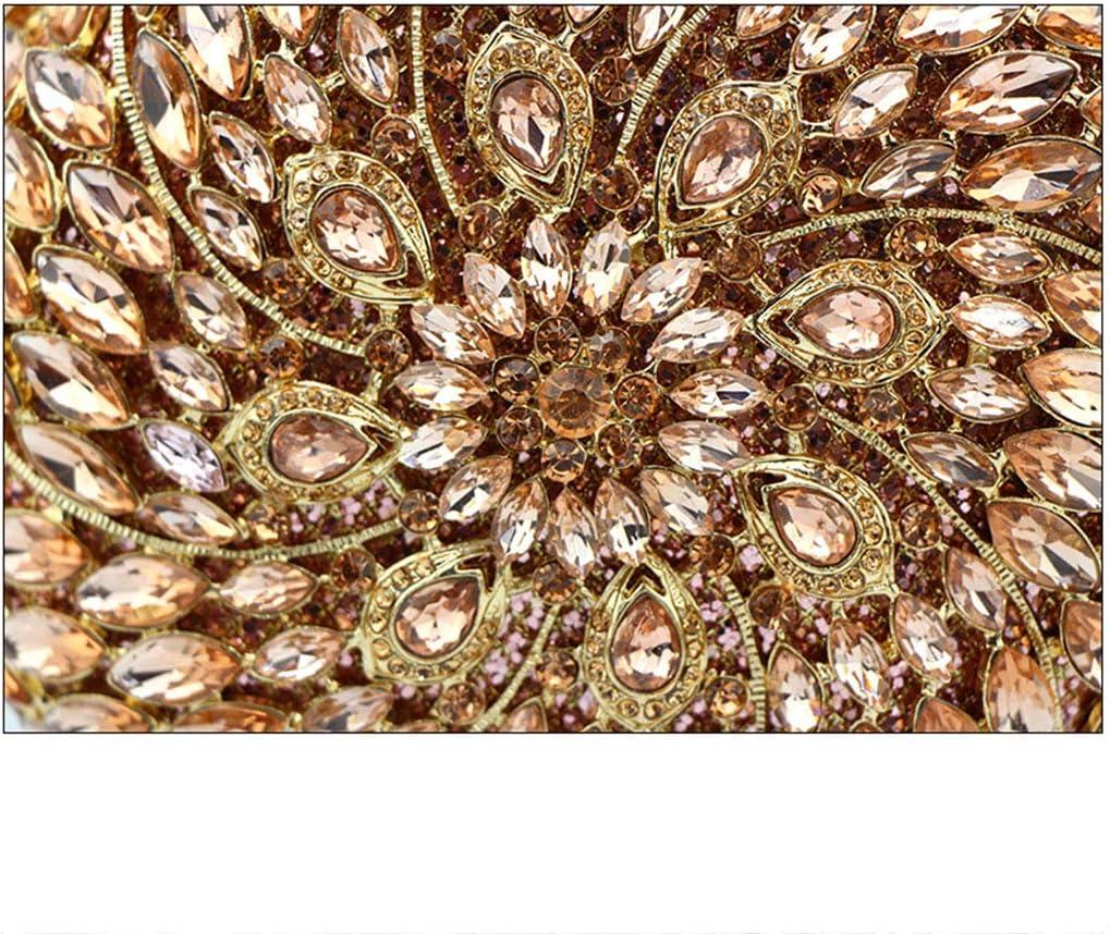 Dinner bag Sac à Main en Cristal Strass avec Embrayage, Sac de soirée pour Femme pour Demoiselle d'honneur, Sacs et embrayages de soirée Gold