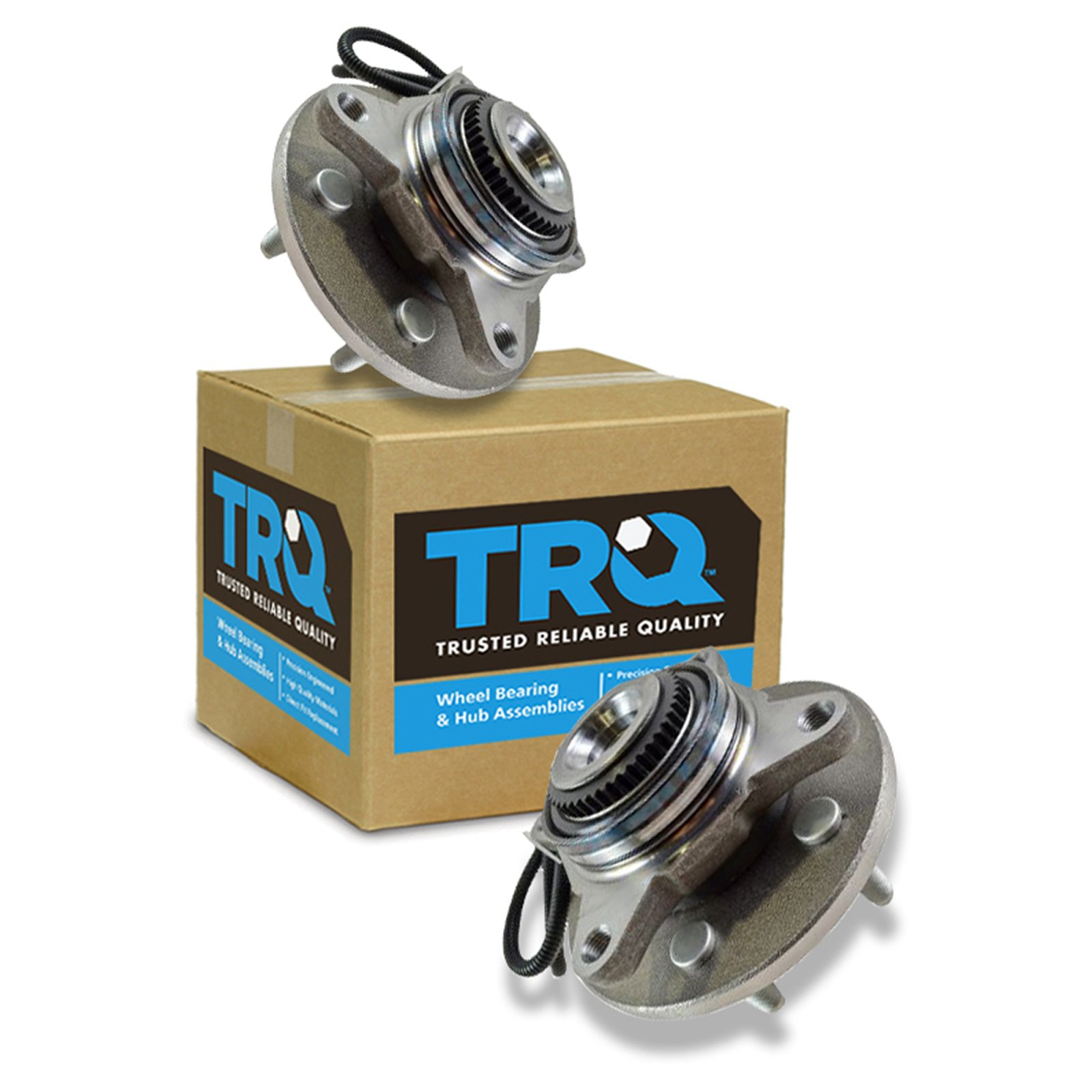 TRQ Wheel Hub & Bearing Assembly Front 4WD Pair for Ford F150 Lincoln Mark LT