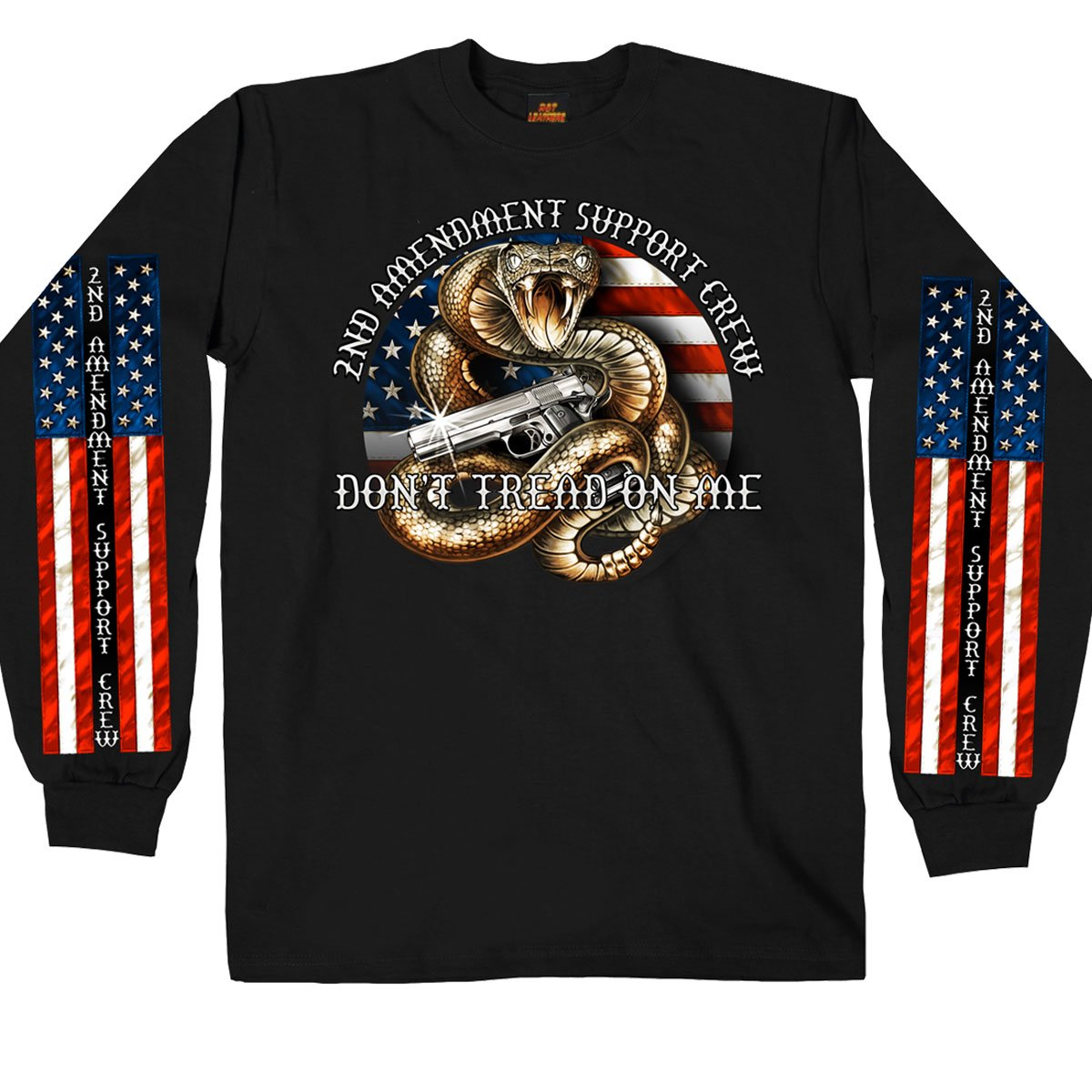 Hot Leathers Men's Long Sleeve 2nd Amendment Shirt (Black, Medium) GMS2371-9726