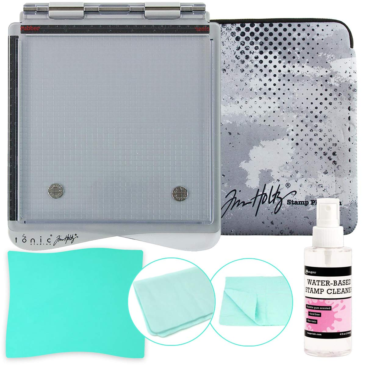 Tonic Studios Tim Holtz Stamp Platform (1707E), Platform Sleeve, Ranger Inkssentials Water-Based Stamp Cleaner 4-Ounce, Pixiss XL Stamp Cleaning Shammy 17-inch x 12-inch