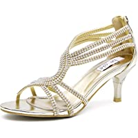 SheSole Women Low Heel Sandals Wedding Bridal Shoes Silver Gold