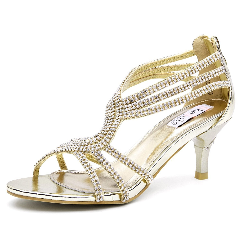 SheSole Women's Low Heel Dance Wedding Sandals Dress Shoes Gold US 11